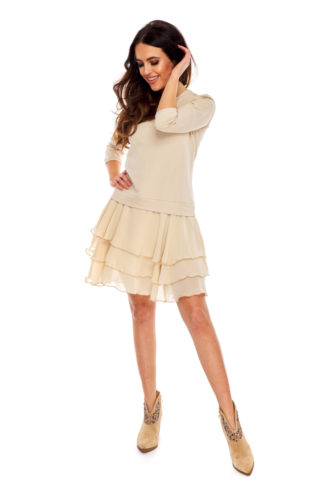 Sukienka z falbanami z szyfonu beżowa