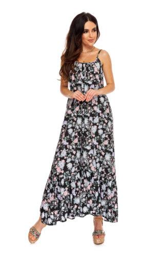 Luźna sukienka maxi w kwiaty