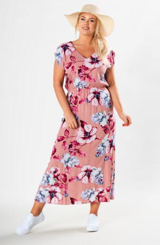 Długa sukienka na co dzień we wzory