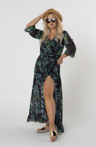 Sukienka maxi z kopertowym dekoltem we wzory