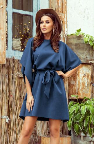 Sukienka nietoperz z rękawami niebieska