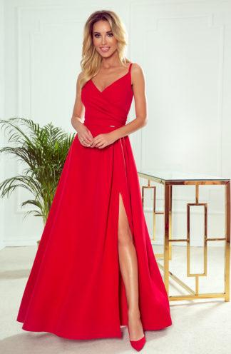 Suknia maxi na wesele na ramiączkach czerwona