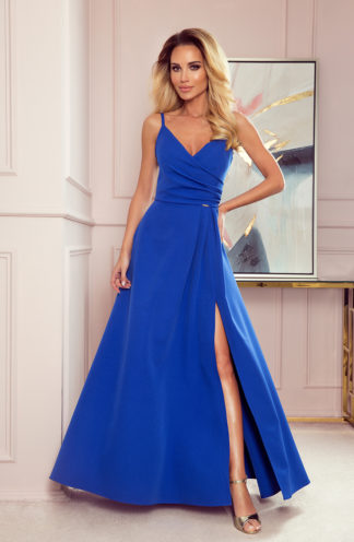Suknia maxi na wesele na ramiączkach chabrowa
