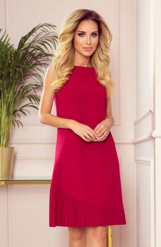 Trapezowa sukienka z plisą czerwona
