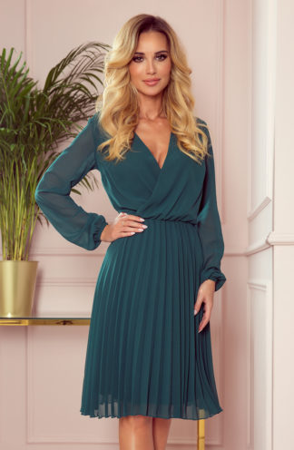 Plisowana sukienka z długim rękawem zieleń