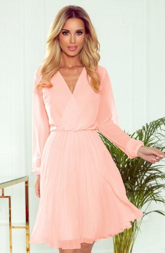 Plisowana sukienka z długim rękawem brzoskwiniowa