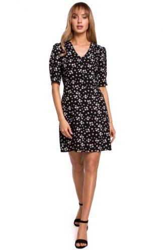 Wizytowa sukienka z dekoltem czarna w kwiatuszki