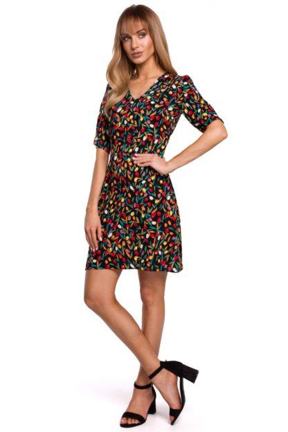 Wizytowa sukienka z dekoltem czarna we wzory