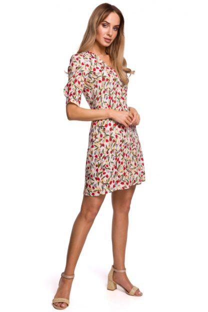 Wizytowa sukienka z dekoltem we wzory
