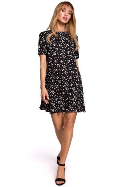 Trapezowa sukienka z falbanką czarna w kwiatuszki