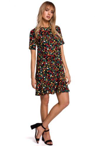 Trapezowa sukienka z falbanką czarna we wzory