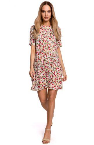 Trapezowa sukienka z falbanką we wzory
