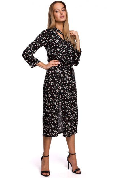 Sukienka midi czarna w kwiatuszki