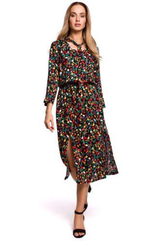 Sukienka midi czarna we wzory