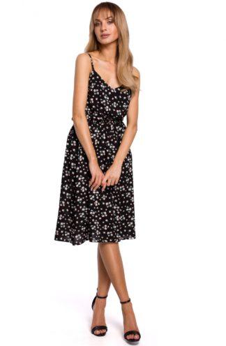 Sukienka midi na ramiączkach czarna w kwiatuszki