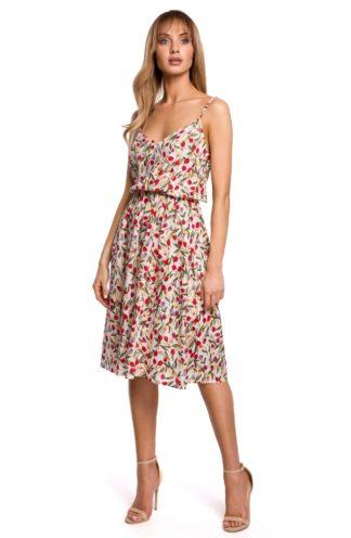 Sukienka midi na ramiączkach we wzory