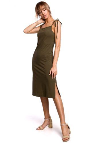 Prosta sukienka na ramiączkach khaki