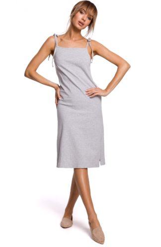 Prosta sukienka na ramiączkach szara