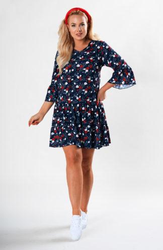 Wzorzysta sukienka z falbaną