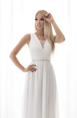 Suknia maxi z drapowaną górą biała