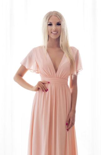 Szyfonowa sukienka maxi różowa