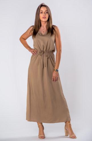 Długa sukienka na co dzień brązowa