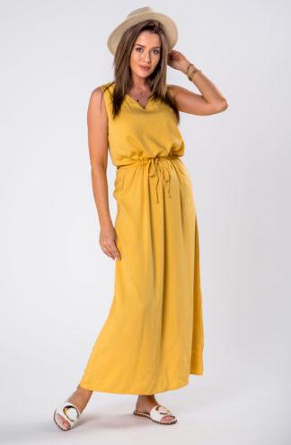 Długa sukienka na co dzień żółta