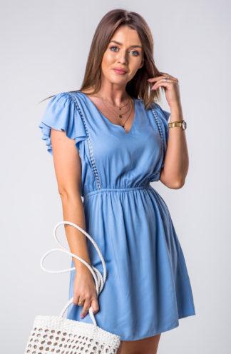 Mini sukienka na co dzień niebieska