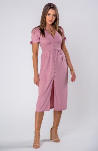 Elegancka sukienka midi z rozcięciem różowa