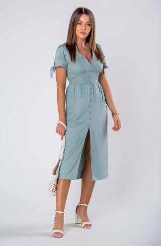 Elegancka sukienka midi z rozcięciem niebieska