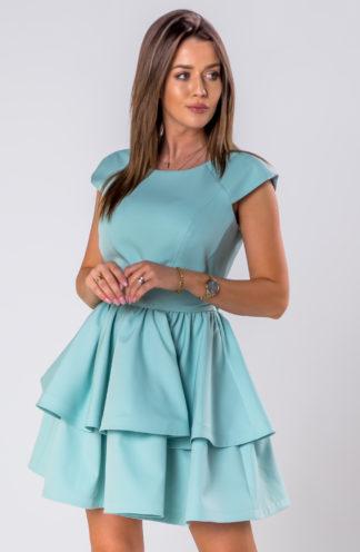 Rozkloszowana sukienka z falbanami