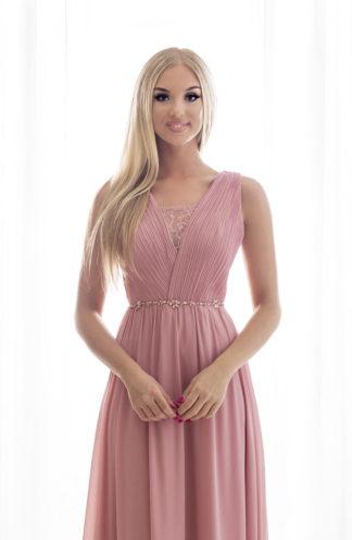 Suknia maxi z drapowaną górą różowa