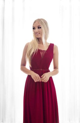 Suknia maxi z drapowaną górą bordowa