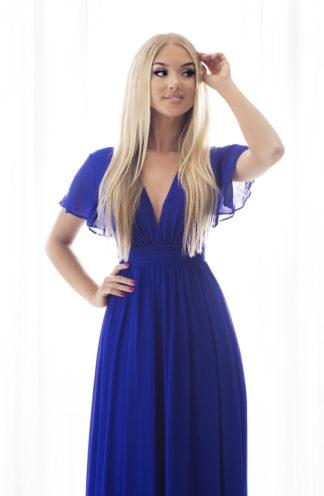 Szyfonowa sukienka maxi chabrowa
