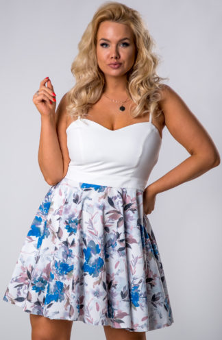 Koktajlowa sukienka z spódnicą w kwiaty niebieska