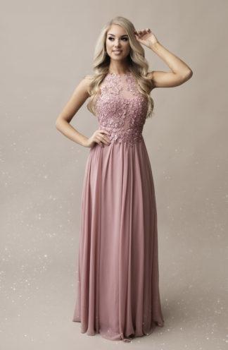 Ekskluzywna suknia z zdobioną górą różowa