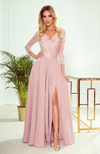 Sukienka maxi z koronkowymi rękawami róż