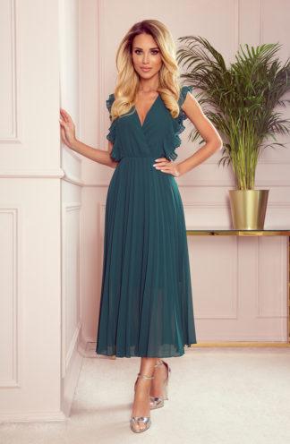 Elegancka plisowana sukienka midi zieleń butelkowa