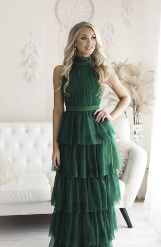 Tiulowa sukienka maxi z falban zieleń