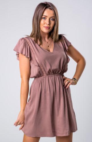 Mini sukienka na co dzień brązowa