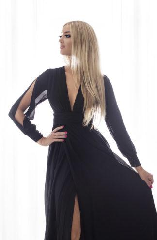 Sukienka maxi z wyciętymi rękawami czarna