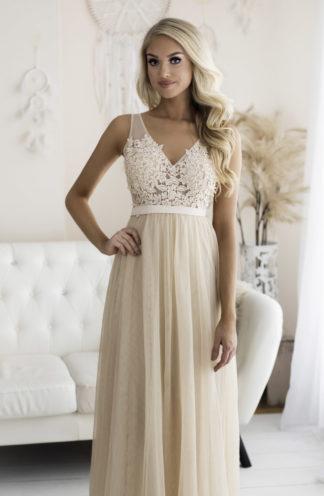 Suknia z zdobionym dekoltem beżowa