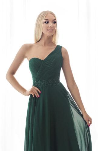 Sukienka maxi na jedno ramię zieleń