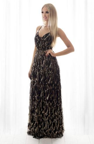 Suknia maxi z cekinami czarna