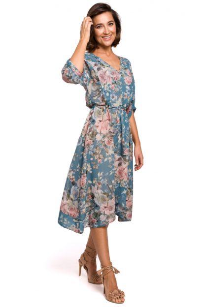 Asymetryczna sukienka z wiązaniem w kwiaty niebieska