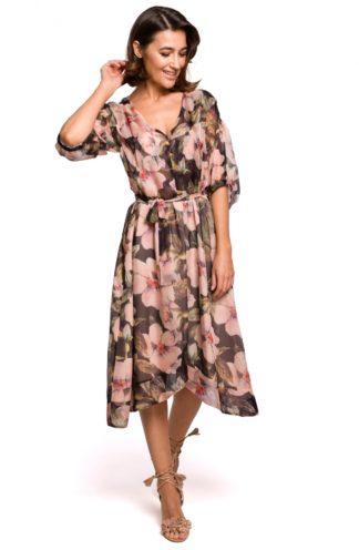 Asymetryczna sukienka z wiązaniem w kwiaty czarna