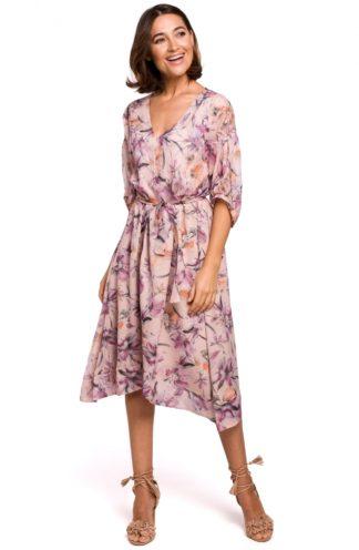 Asymetryczna sukienka z wiązaniem w kwiaty różowa