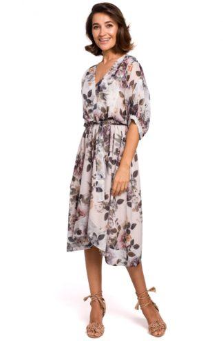 Asymetryczna sukienka z wiązaniem w kwiaty biała