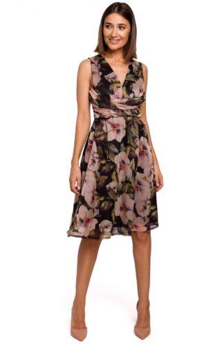 Wizytowa sukienka w kwiaty czarna