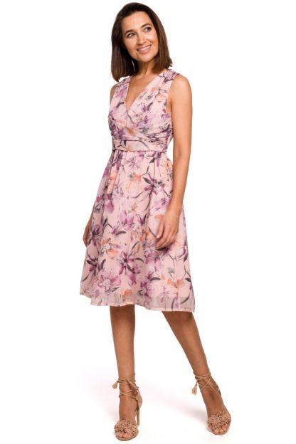 Wizytowa sukienka w kwiaty różowa